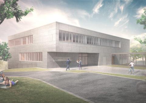 Der Neubau der Berufsschule in Rehau schafft zusätzliche 1.570m² für Schülerund Lehrer.
