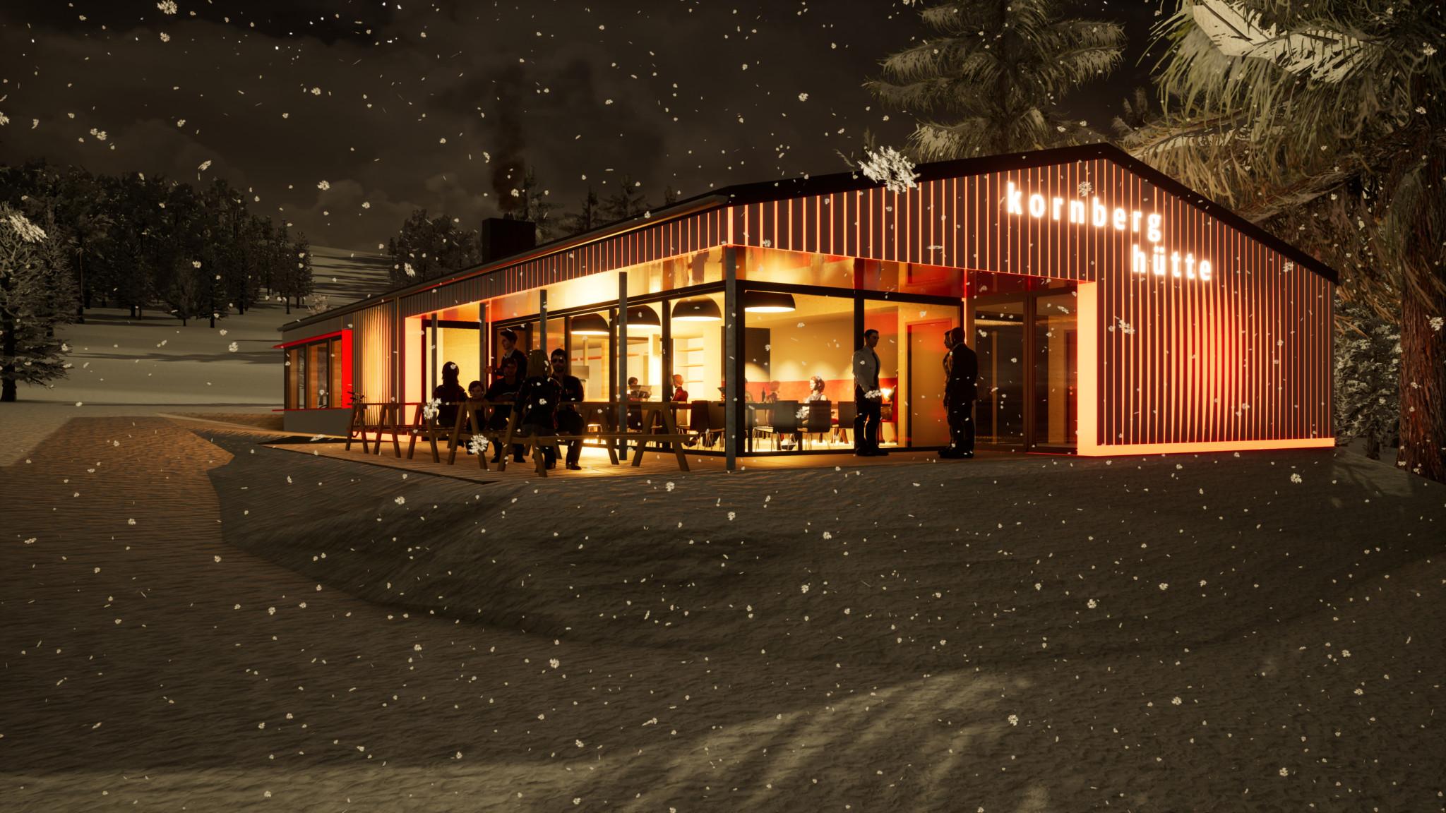 Eingebettet in die Natur und multifunktional - mit Bikeverleih und Gaststätte - soll das neue Kornberghaus gestaltet werden. (Fotoquelle: Kuchenreuther Architekten)