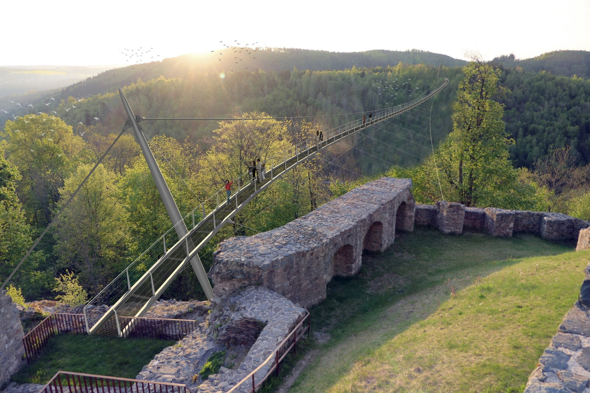 Ankunftspunkt der 387 Meter langen Lohbachtalbrücke unterhalb der historischen Burg Lichtenberg.